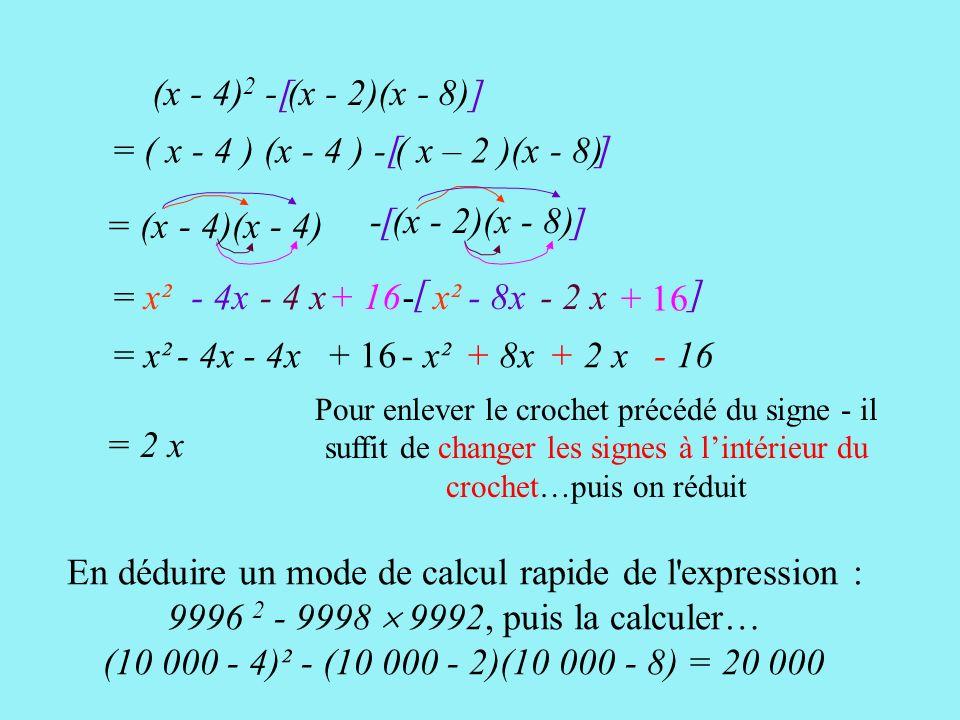 [ ] (x - 4) 2 - (x - 2)(x - 8)[ ] = ( x - 4 ) (x - 4 ) - ( x – 2 )(x - 8) [ ] = (x - 4)(x - 4) = x² - 4x + 16 - (x - 2)(x - 8) - x² - 8x- 2 x + 16 = x²- 4x + 16- x²+ 8x + 2 x - 16 Pour enlever le crochet précédé du signe - il suffit de changer les signes à lintérieur du crochet…puis on réduit = 2 x En déduire un mode de calcul rapide de l expression : 9996 2 - 9998 9992, puis la calculer… (10 000 - 4)² - (10 000 - 2)(10 000 - 8) = 20 000