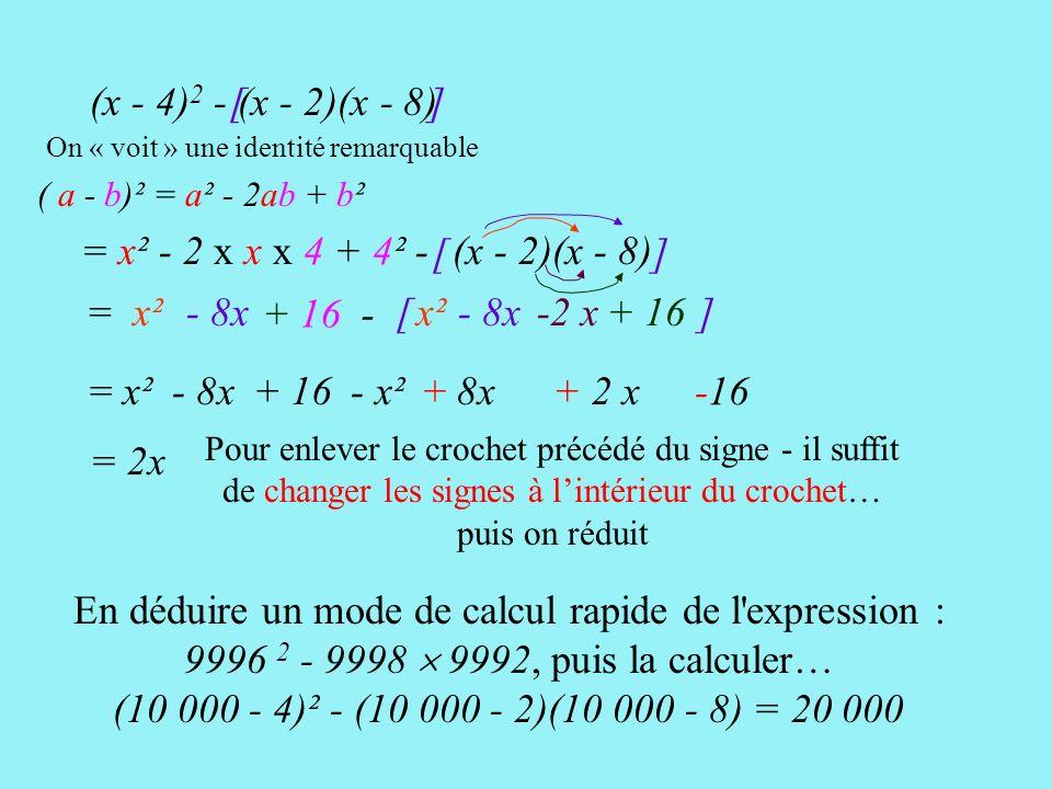 [ ] = x² - 2 x x x 4 + 4² - (x - 4) 2 - (x - 2)(x - 8)[ ] (x - 2)(x - 8) x² - 8x-2 x+ 16 [ ] = x²- 8x + 16 - = x²- 8x+ 16- x²+ 8x + 2 x -16 Pour enlever le crochet précédé du signe - il suffit de changer les signes à lintérieur du crochet… puis on réduit = 2x ( a - b)² = a² - 2ab + b² On « voit » une identité remarquable En déduire un mode de calcul rapide de l expression : 9996 2 - 9998 9992, puis la calculer… (10 000 - 4)² - (10 000 - 2)(10 000 - 8) = 20 000