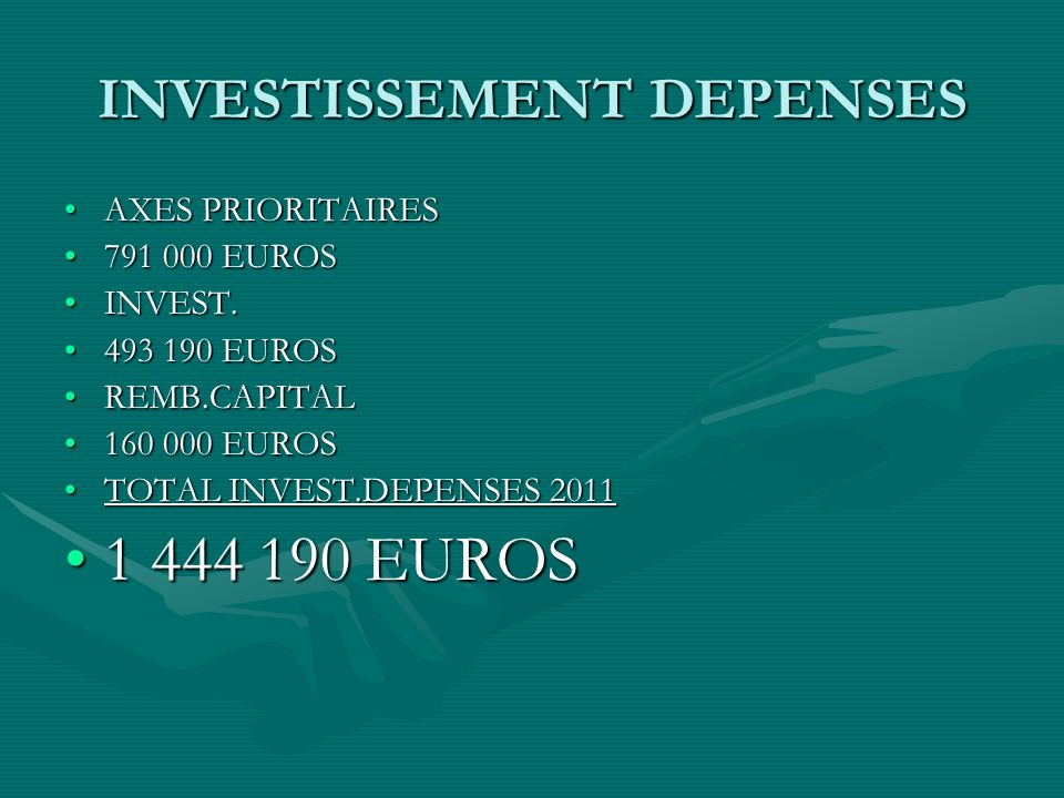 INVESTISSEMENT DEPENSES AXES PRIORITAIRESAXES PRIORITAIRES 791 000 EUROS791 000 EUROS INVEST.INVEST.