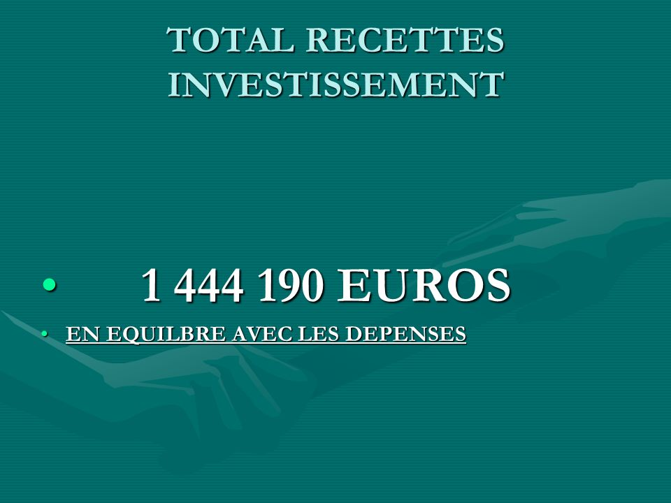 TOTAL RECETTES INVESTISSEMENT 1 444 190 EUROS 1 444 190 EUROS EN EQUILBRE AVEC LES DEPENSESEN EQUILBRE AVEC LES DEPENSES