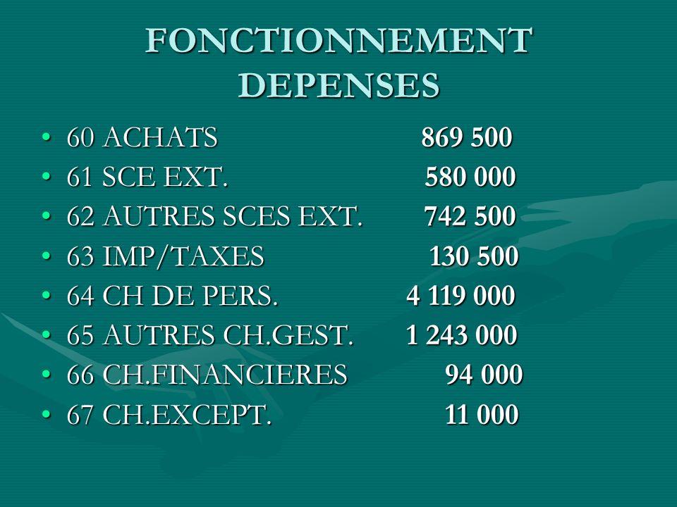 FONCTIONNEMENT DEPENSES 60 ACHATS 869 50060 ACHATS 869 500 61 SCE EXT.