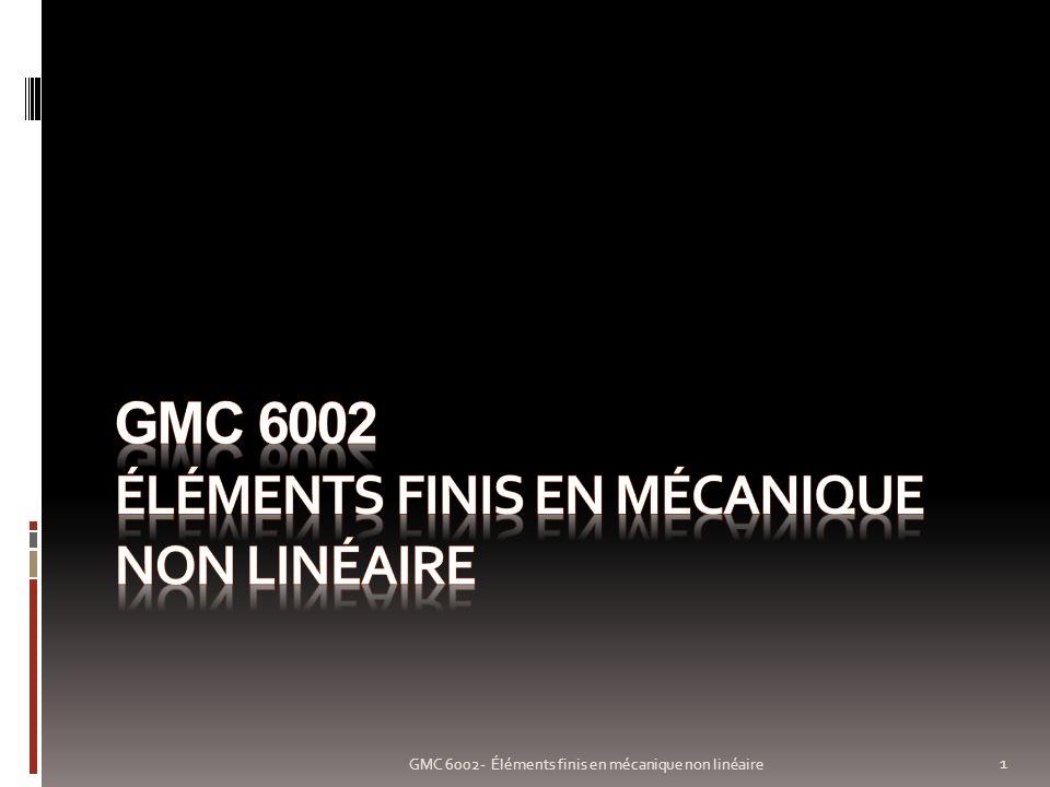 Non linéarité géométrique: exemple 12 GMC 6002- Éléments finis en mécanique non linéaire Poutre en flexion E = 1.2x10 9 Pa, L = 10 m Section 1 m x 0.1 m Maillée 10 éléments de poutre Modèle linéaire (HPP) m m