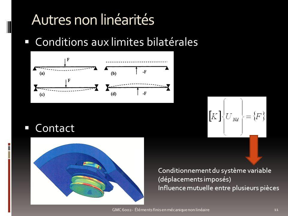 Autres non linéarités 11 GMC 6002- Éléments finis en mécanique non linéaire Conditions aux limites bilatérales Contact Conditionnement du système variable (déplacements imposés) Influence mutuelle entre plusieurs pièces