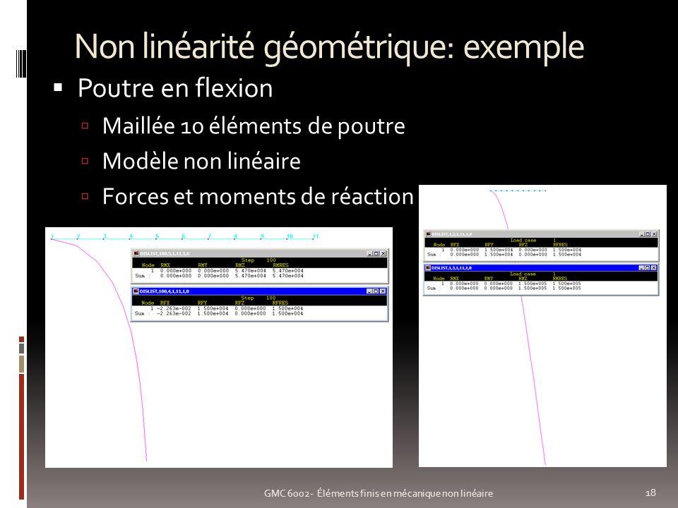 Non linéarité géométrique: exemple 18 GMC 6002- Éléments finis en mécanique non linéaire Poutre en flexion Maillée 10 éléments de poutre Modèle non linéaire Forces et moments de réaction