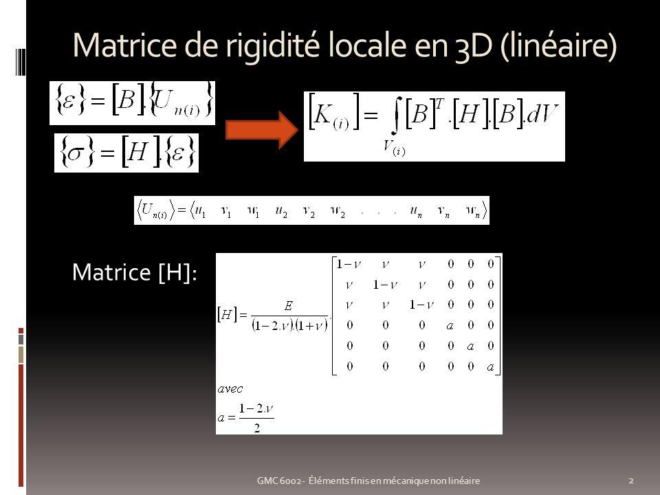 Non linéarité géométrique: exemple1 13 GMC 6002- Éléments finis en mécanique non linéaire Poutre en flexion Maillée 10 éléments de poutre Grands déplacements (COSMOS/M) Déformée modèle non-linéaire/linéaire m m m m