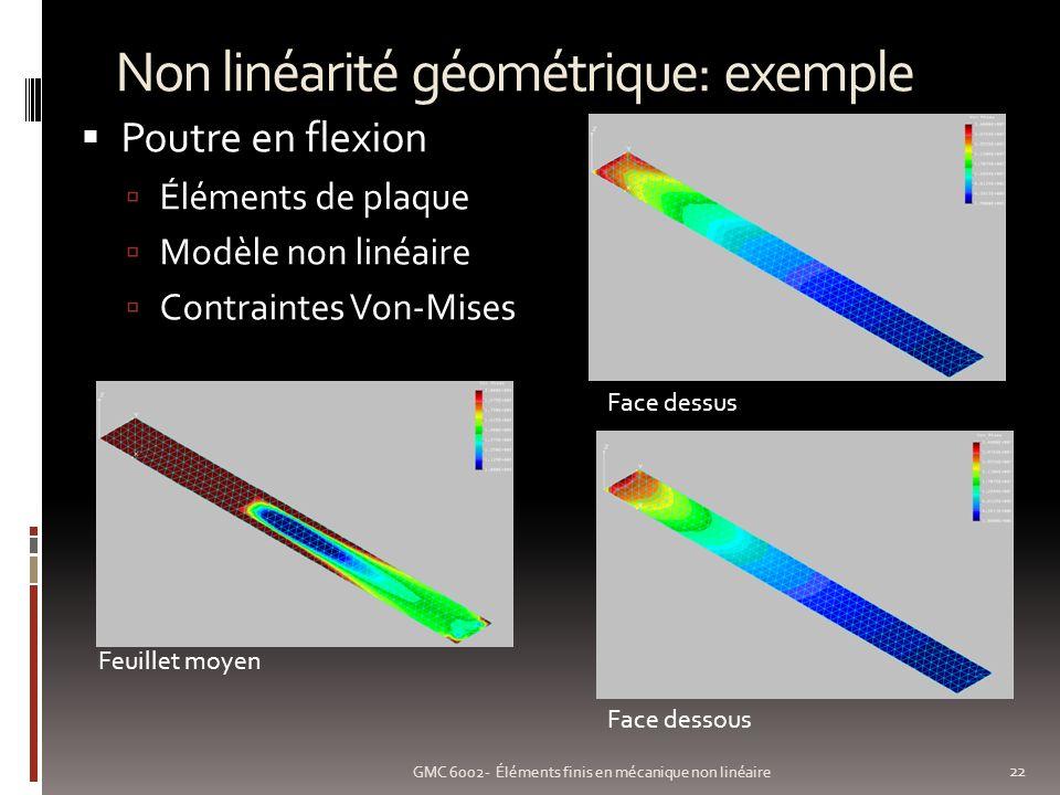Non linéarité géométrique: exemple 22 GMC 6002- Éléments finis en mécanique non linéaire Poutre en flexion Éléments de plaque Modèle non linéaire Contraintes Von-Mises Face dessus Face dessous Feuillet moyen