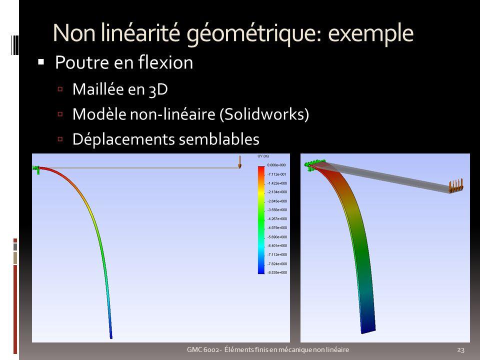 Non linéarité géométrique: exemple 23 GMC 6002- Éléments finis en mécanique non linéaire Poutre en flexion Maillée en 3D Modèle non-linéaire (Solidworks) Déplacements semblables