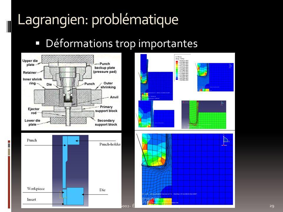 Lagrangien: problématique 29 GMC 6002- Éléments finis en mécanique non linéaire Déformations trop importantes