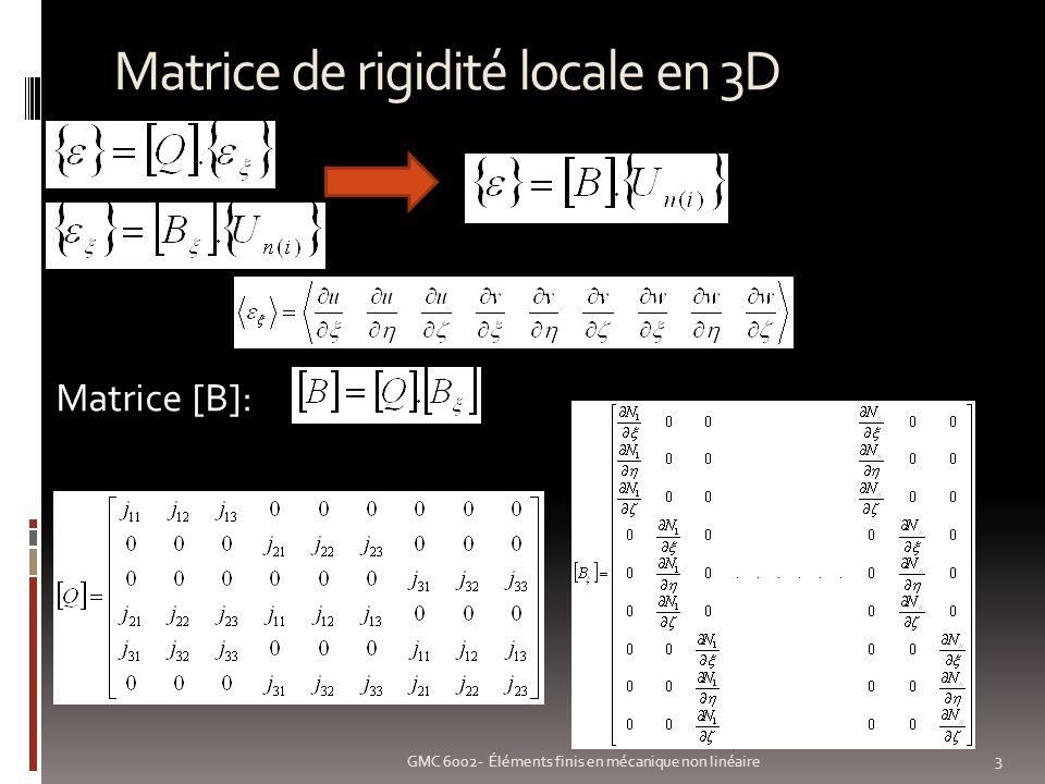 Matrice de rigidité locale en 3D 3 GMC 6002- Éléments finis en mécanique non linéaire Matrice [B]: