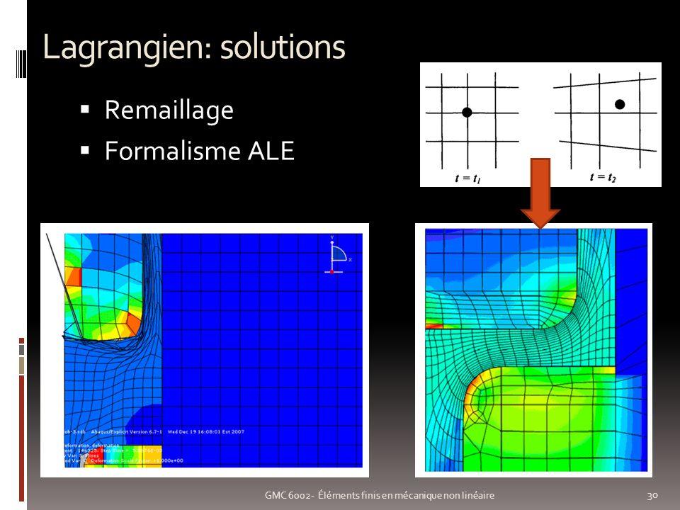 Lagrangien: solutions 30 GMC 6002- Éléments finis en mécanique non linéaire Remaillage Formalisme ALE
