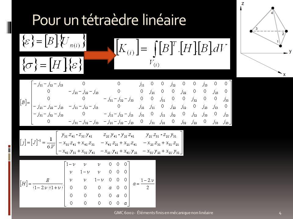 Non linéarité géométrique: exemple 15 GMC 6002- Éléments finis en mécanique non linéaire Poutre en flexion Maillée 10 éléments de poutre Évolution de la force 0 – 15 000 N Déplacement en y linéaire/non linéaire Linéaire Non linéaire m N