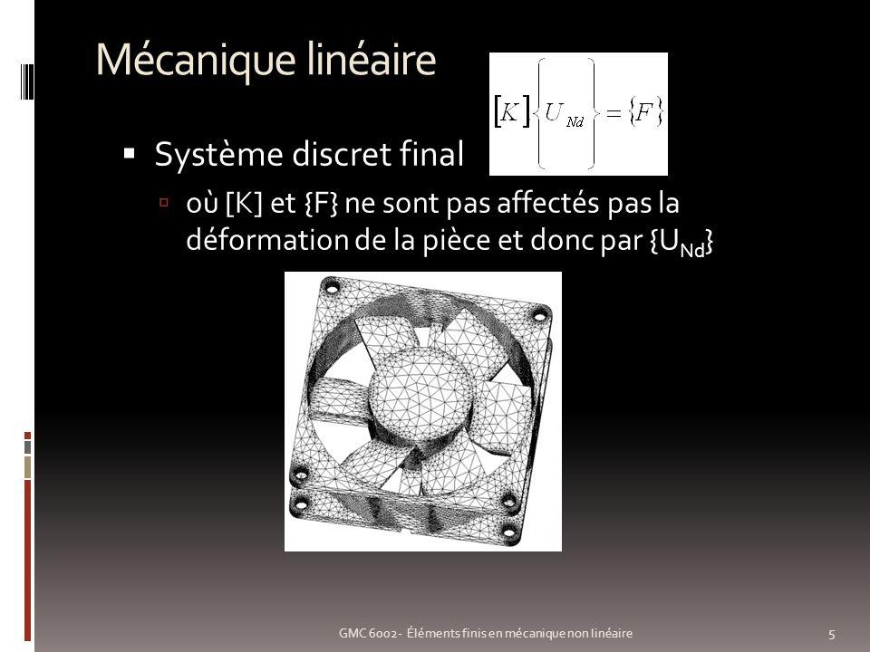 Non linéarité matérielle: exemple 26 GMC 6002- Éléments finis en mécanique non linéaire Plaque trouée (COSMOS/M solveur itératif) Modèle linéaire Modèle non-linéaire (parfaitement plastique à 40 000 Psi) P = 10 000 Psi P = 12 000 Psi P = 15 000 Psi P = 20 000 Psi Échelle de couleurs différente