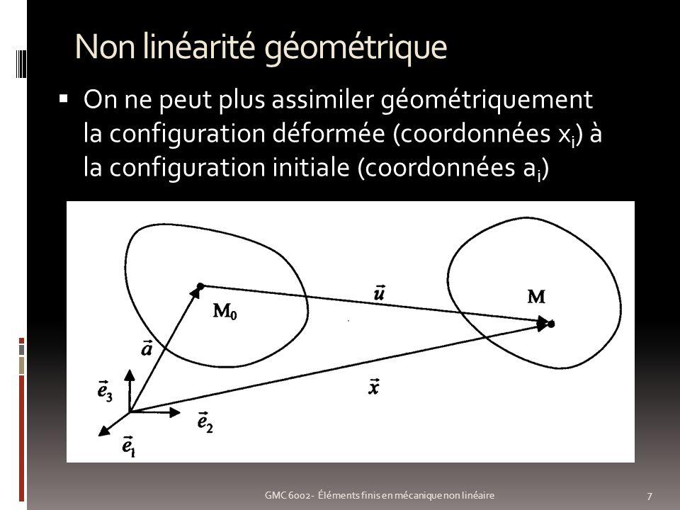 Non linéarité géométrique 8 GMC 6002- Éléments finis en mécanique non linéaire Deux configurations (peuvent agir ensemble) Grands déplacements: U i << L nest plus vrai Grandes déformations: U i,j << 1 nest plus vrai Plus de proportionnalité entre {ε} et {U n(i) } [K] est affectée par la déformation de la pièce et donc par {U nd }
