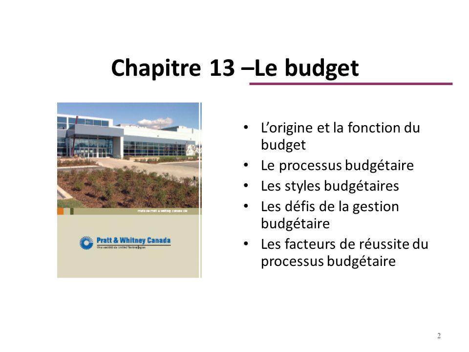 Chapitre 13 –Le budget Lorigine et la fonction du budget Le processus budgétaire Les styles budgétaires Les défis de la gestion budgétaire Les facteur