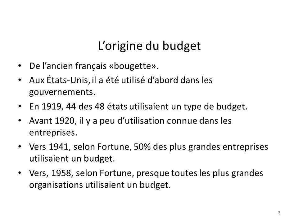 Lorigine du budget De lancien français «bougette». Aux États-Unis, il a été utilisé dabord dans les gouvernements. En 1919, 44 des 48 états utilisaien