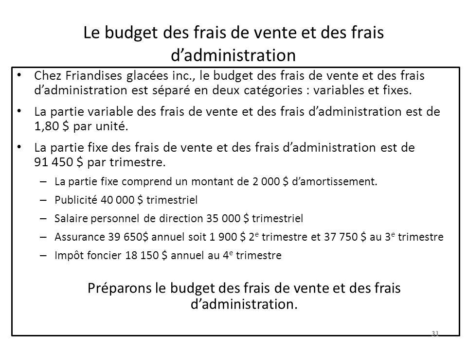 Le budget des frais de vente et des frais dadministration Chez Friandises glacées inc., le budget des frais de vente et des frais dadministration est séparé en deux catégories : variables et fixes.