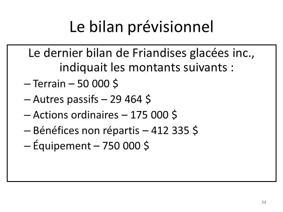 Le bilan prévisionnel Le dernier bilan de Friandises glacées inc., indiquait les montants suivants : – Terrain – 50 000 $ – Autres passifs – 29 464 $