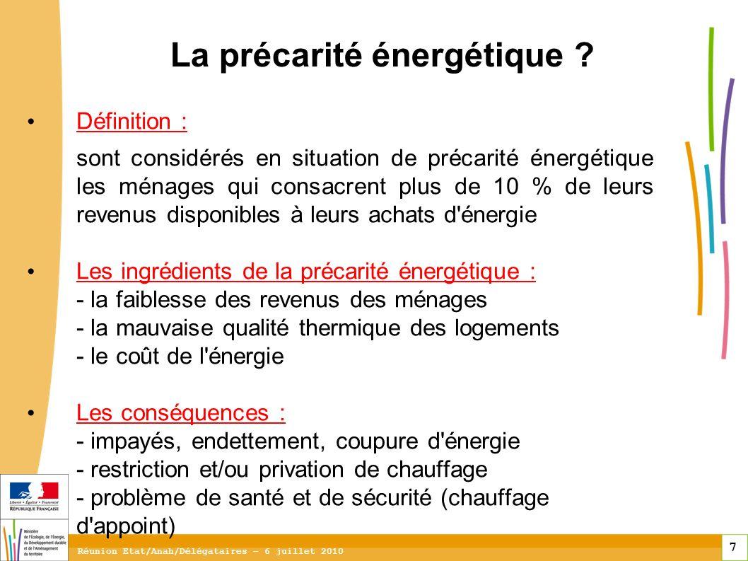 7 7 7 Réunion Etat/Anah/Délégataires – 6 juillet 2010 La précarité énergétique .