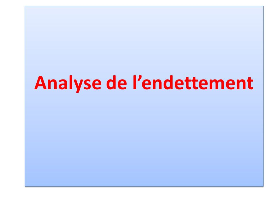 Analyse de lendettement