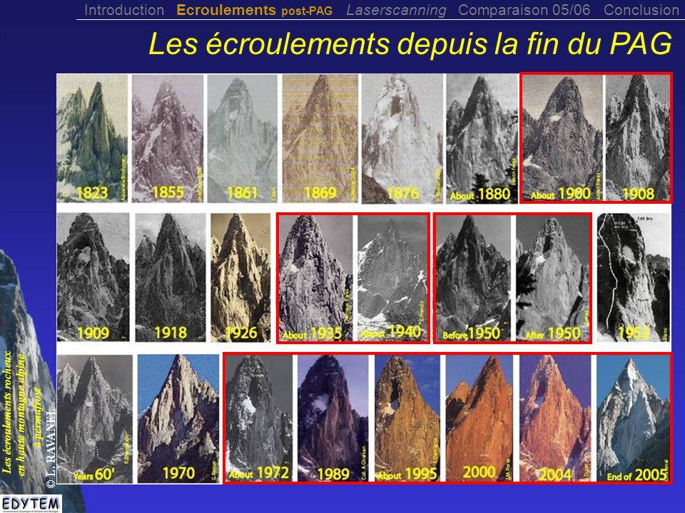 Les écroulements depuis la fin du PAG Introduction Ecroulements post-PAG Laserscanning Comparaison 05/06 Conclusion Les écroulements rocheux en haute