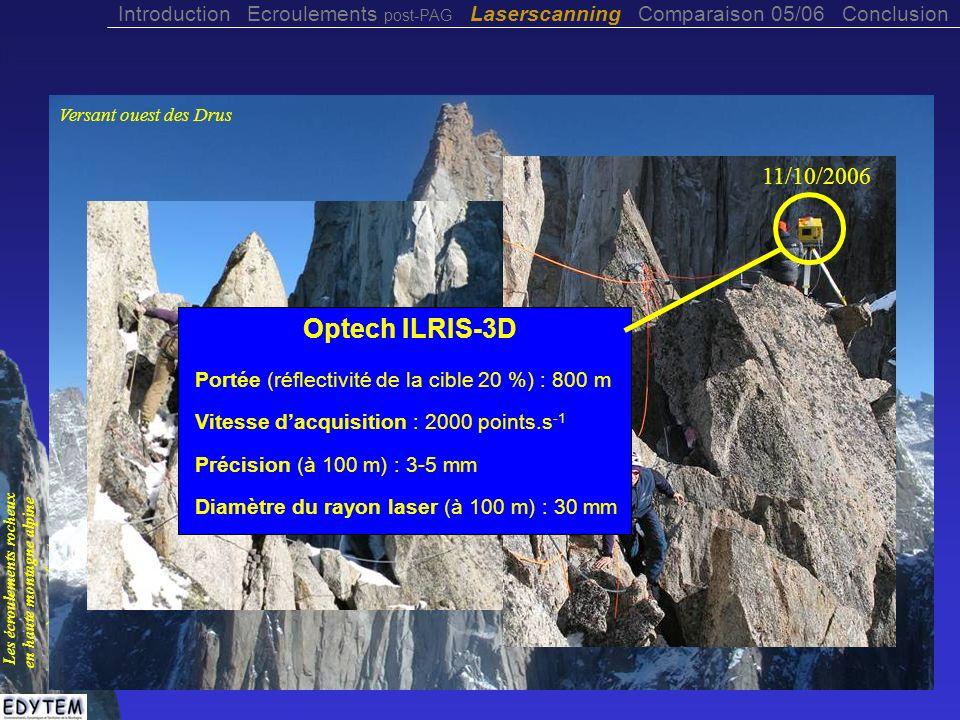 Obtention d un modèle polygonal Introduction Ecroulements post-PAG Laserscanning Comparaison 05/06 Conclusion Les écroulements rocheux en haute montagne alpine à permafrost © L.
