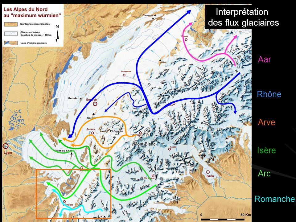 Rhône Arve Isère Romanche Interprétation des flux glaciaires Aar Arc