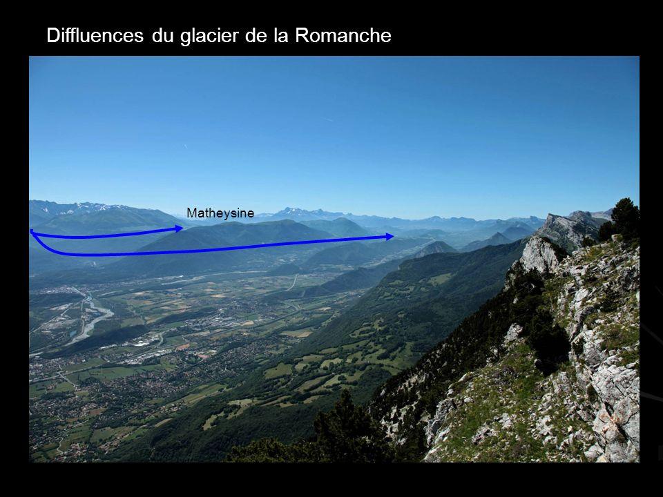 Diffluences du glacier de la Romanche Matheysine