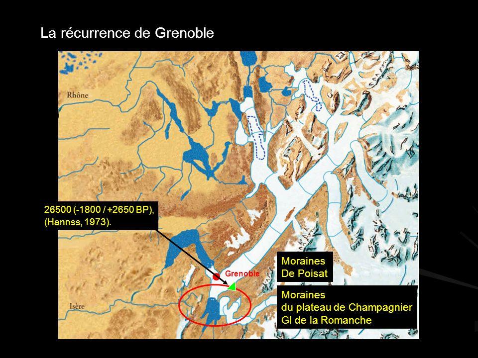 Grenoble La récurrence de Grenoble Moraines du plateau de Champagnier Gl de la Romanche Moraines De Poisat 26500 (-1800 / +2650 BP), (Hannss, 1973).