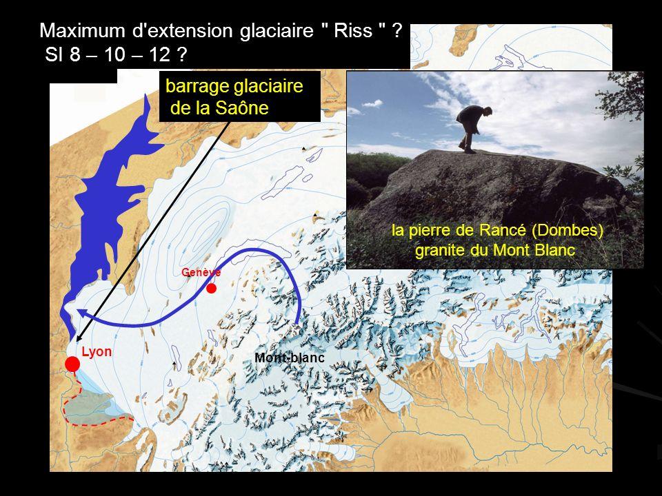 Lyon Bâle Mont-blanc Genève Maximum d extension glaciaire Riss .