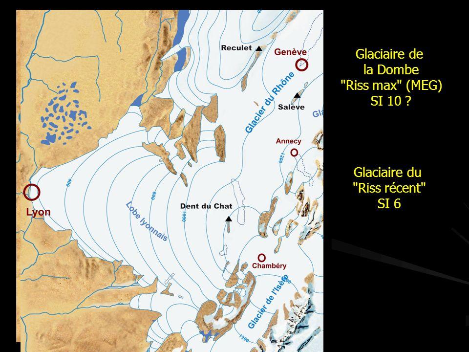 Glaciaire de la Dombe Riss max (MEG) SI 10 ? Glaciaire du Riss récent SI 6