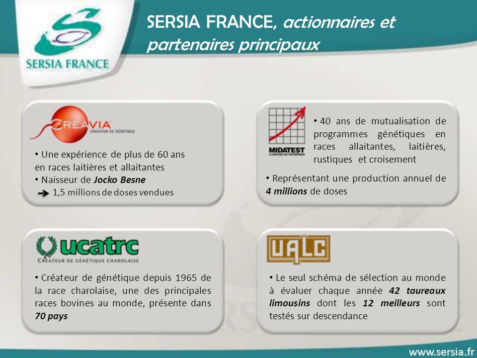 SERSIA FRANCE à votre service Votre fournisseur de progrès génétique : Bien comprendre vos attentes Analyser parfaitement vos besoins Vous apporter la meilleure solution Diversité et qualité de notre gamme de produits et services www.sersia.fr