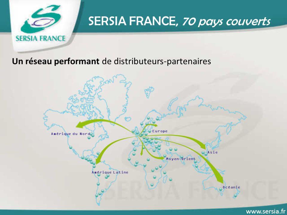 SERSIA FRANCE, 70 pays couverts Un réseau performant de distributeurs-partenaires www.sersia.fr Amérique du Nord Amérique Latine Europe Moyen-Orient A