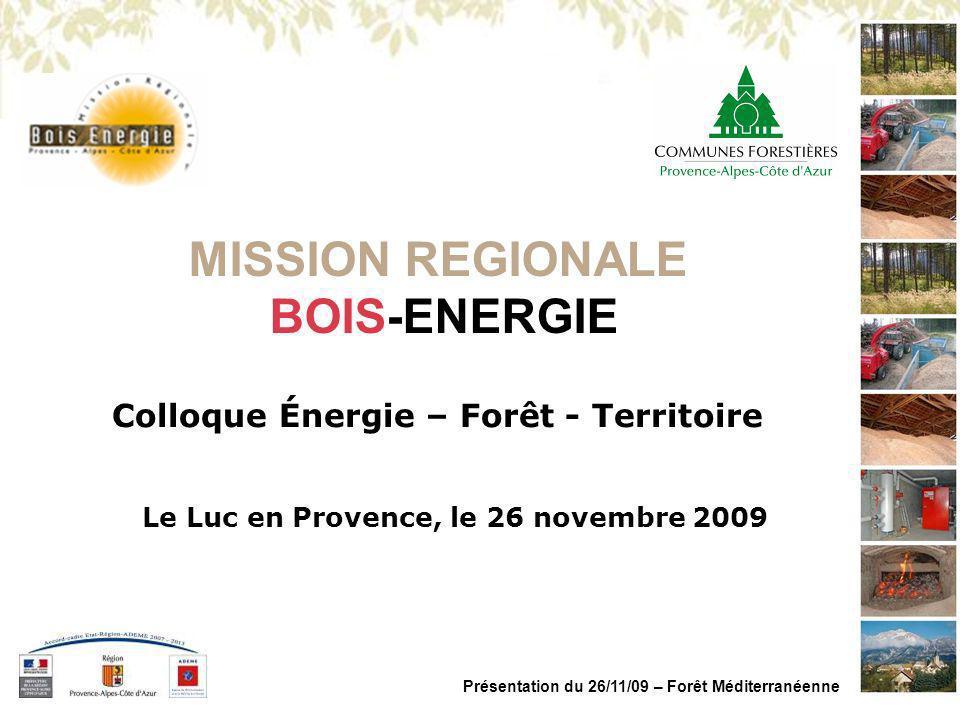 MISSION REGIONALE BOIS ENERGIE PACA Présentation du 26/11/09 – Forêt Méditerranéenne Un gisement important dans la région >1,2 M dha de forêt (3 ème région française) >Taux de boisement de 42% (national : 27%) >Taux daccroissement de 3 m 3 /ha par an >Une production annuelle de 3,6 M m 3 /an >Une exploitation annuelle denviron 750 000 m 3 représentant un prélèvement annuel inférieur à 20% de la production >Une ressource à plus de 70% vouée au bois dindustrie et bois de chauffage >Un outil adapté => Le Plan dapprovisionnement Territorial