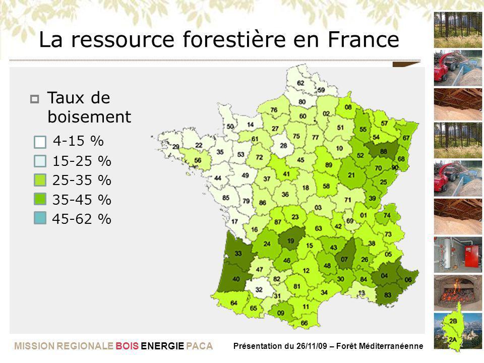 MISSION REGIONALE BOIS ENERGIE PACA Présentation du 26/11/09 – Forêt Méditerranéenne La ressource forestière en France Taux de boisement 4-15 % 15-25