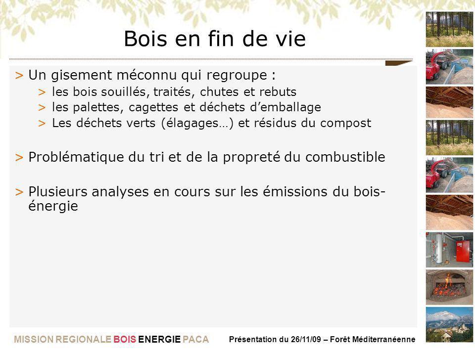 MISSION REGIONALE BOIS ENERGIE PACA Présentation du 26/11/09 – Forêt Méditerranéenne Bois en fin de vie >Un gisement méconnu qui regroupe : >les bois
