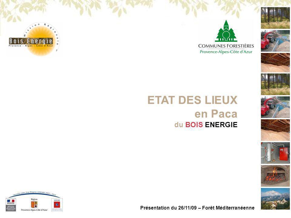 MISSION REGIONALE BOIS ENERGIE PACA Présentation du 26/11/09 – Forêt Méditerranéenne Analyse rapide >A partir de la production de bois résineux dindustrie >Et de leur récolte