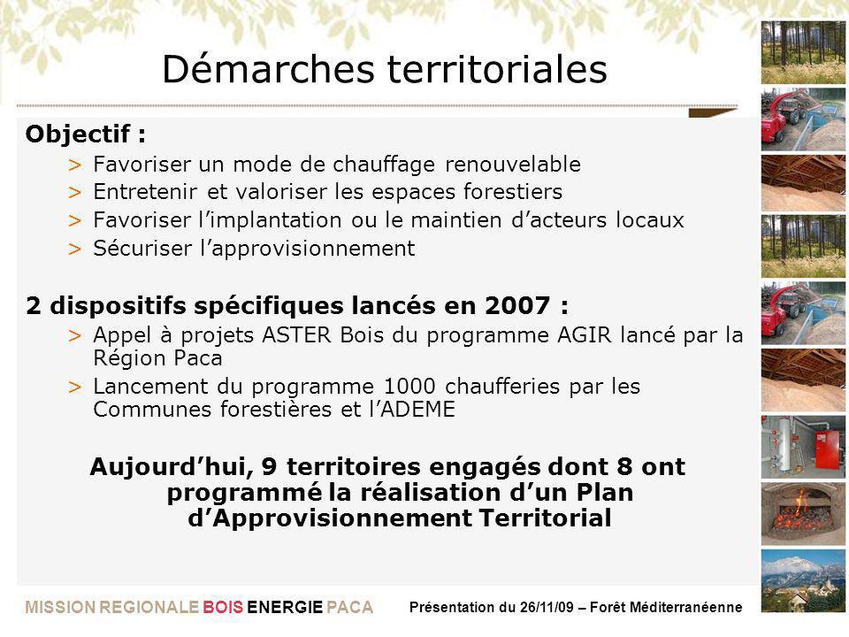 MISSION REGIONALE BOIS ENERGIE PACA Présentation du 26/11/09 – Forêt Méditerranéenne Démarches territoriales Objectif : >Favoriser un mode de chauffag