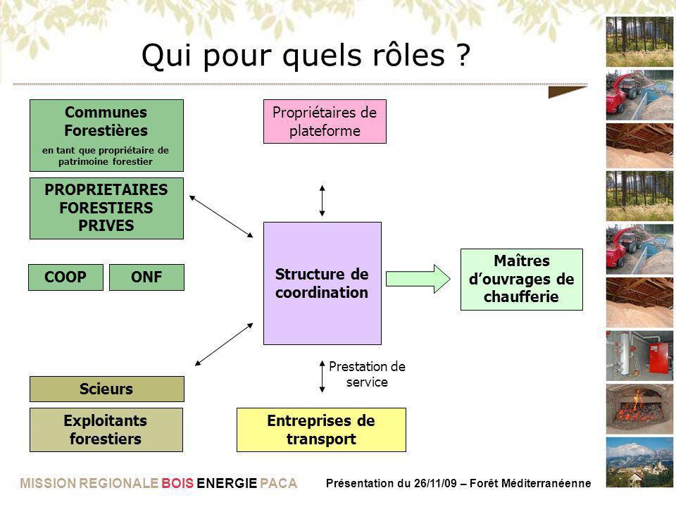MISSION REGIONALE BOIS ENERGIE PACA Présentation du 26/11/09 – Forêt Méditerranéenne Qui pour quels rôles ? Entreprises de transport Propriétaires de