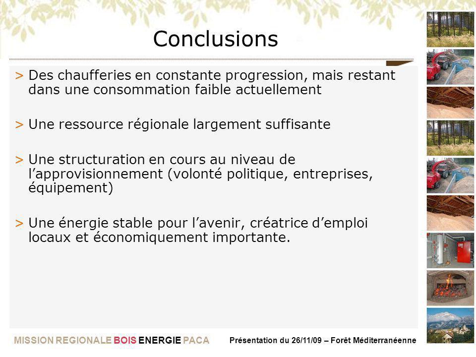 MISSION REGIONALE BOIS ENERGIE PACA Présentation du 26/11/09 – Forêt Méditerranéenne Conclusions >Des chaufferies en constante progression, mais resta