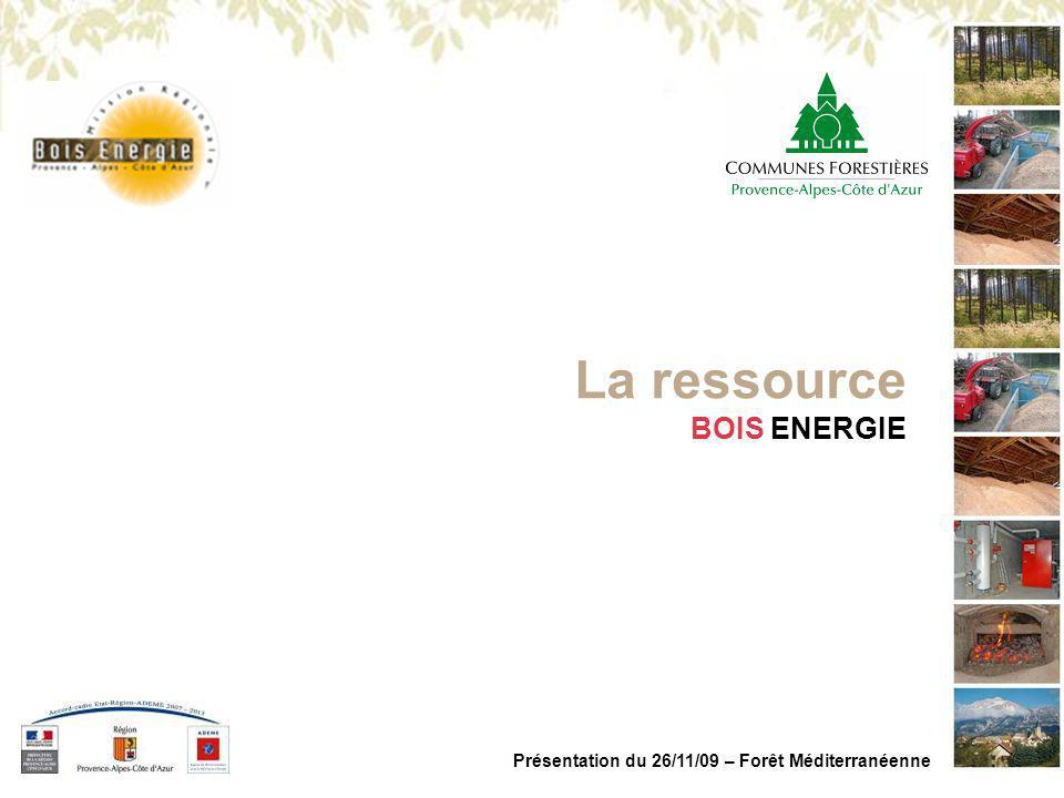 MISSION REGIONALE BOIS ENERGIE PACA Présentation du 26/11/09 – Forêt Méditerranéenne Constat n°2 >Une ressource largement présente (PCI 3500 kWh/t) : >Ressource forestière : 1 600 000 MWh/an (450 000 t/an) >Ressource connexe : 70 000 MWh/an (20 000 t/an) >Ressource bois fin de vie (classe A) : Aucunes données, mais gisement important en région Paca.