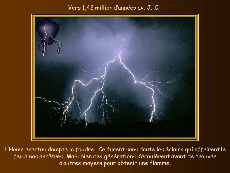 Vers 1,42 million dannées av.J.-C. LHomo erectus dompte la foudre.