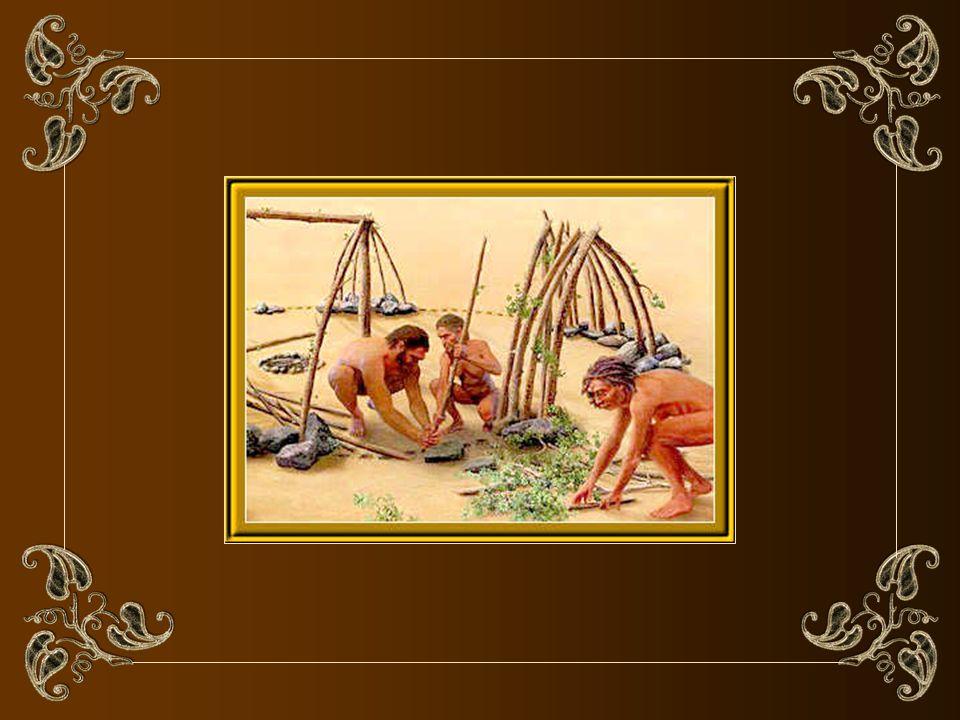 Reconstitution du site de Terra Amata, près de Nice en France, il y a 400 000 ans av. J.-C. (dessin copyright Wilson) Labri fut construit vers 400 000