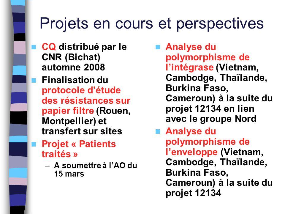 Projets en cours et perspectives CQ distribué par le CNR (Bichat) automne 2008 Finalisation du protocole détude des résistances sur papier filtre (Rou