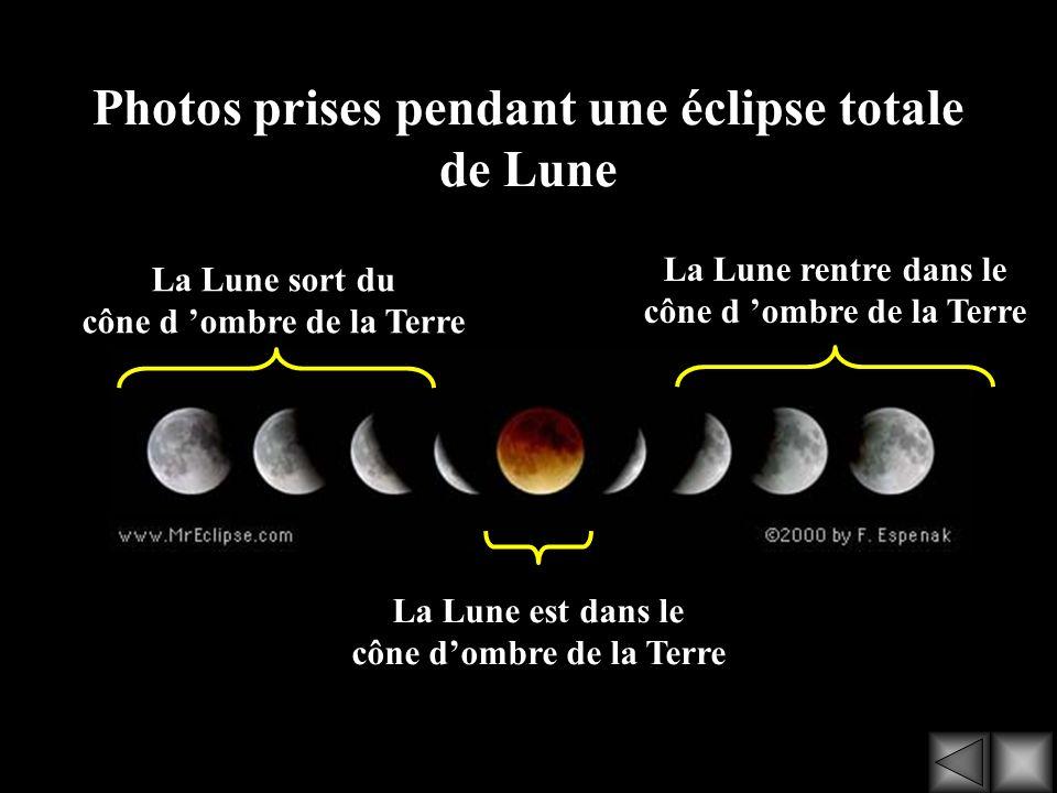 Photos prises pendant une éclipse totale de Lune La Lune rentre dans le cône d ombre de la Terre La Lune sort du cône d ombre de la Terre La Lune est