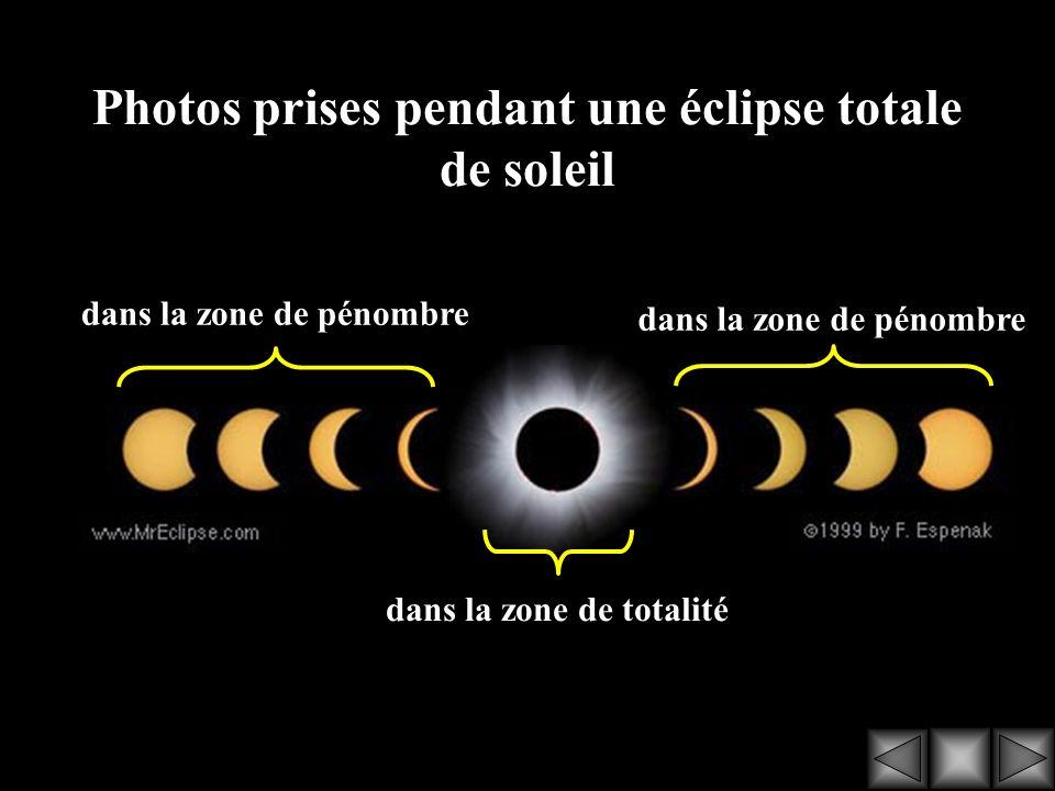 Photos prises pendant une éclipse totale de soleil dans la zone de pénombre dans la zone de totalité dans la zone de pénombre