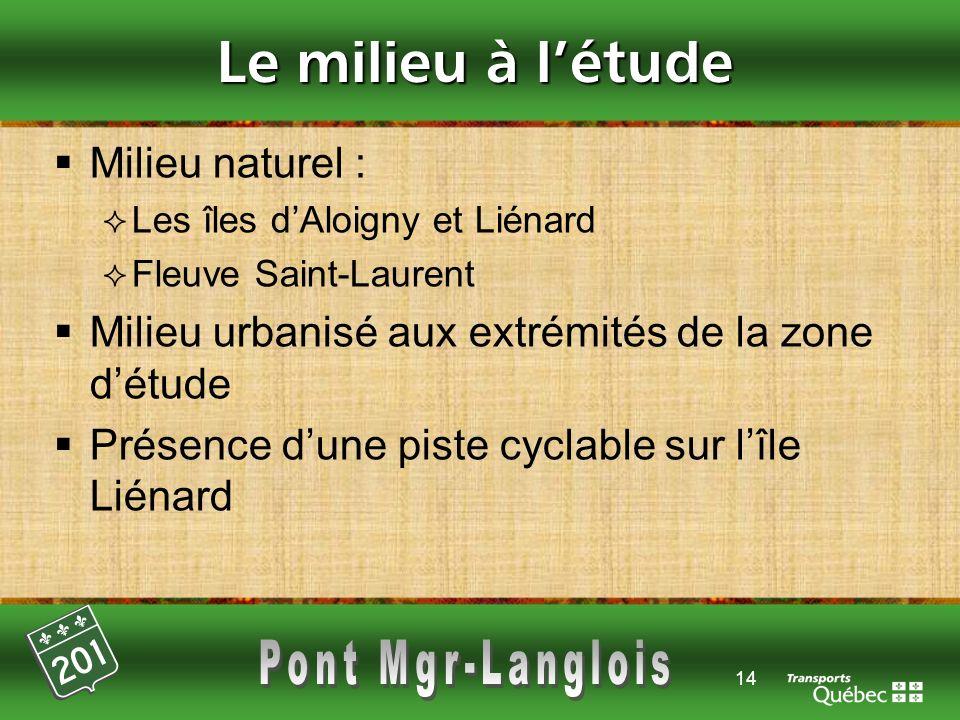 14 Le milieu à létude Milieu naturel : Les îles dAloigny et Liénard Fleuve Saint-Laurent Milieu urbanisé aux extrémités de la zone détude Présence dun