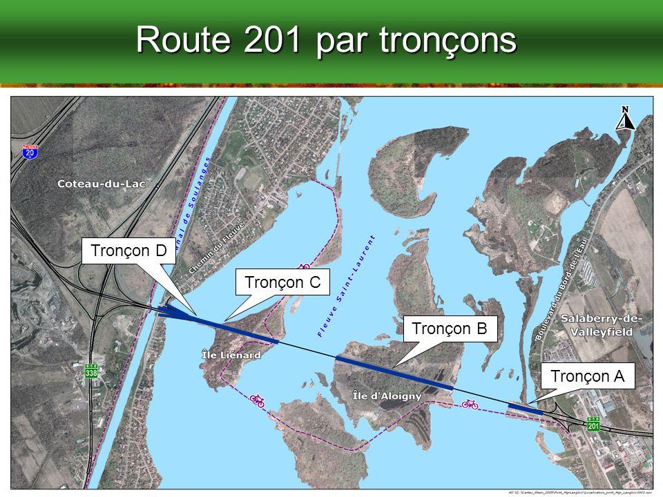 16 Route 201 par tronçons Tronçon A Tronçon B Tronçon C Tronçon D
