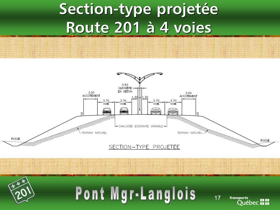 17 Section-type projetée Route 201 à 4 voies