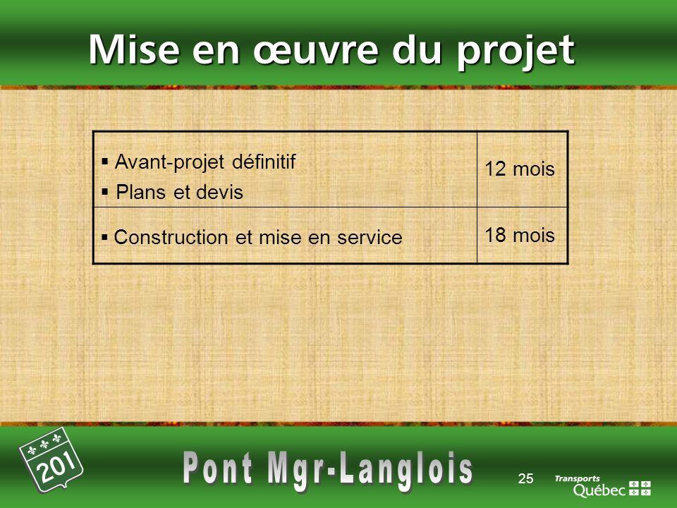 25 Mise en œuvre du projet Avant-projet définitif Plans et devis 12 mois Construction et mise en service 18 mois