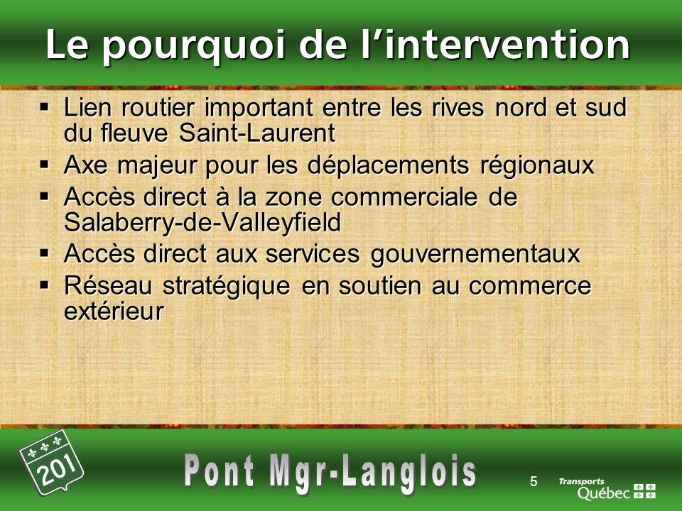 5 Le pourquoi de lintervention Lien routier important entre les rives nord et sud du fleuve Saint-Laurent Lien routier important entre les rives nord